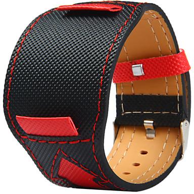 hesapli Saat Aksesuarları-Kanvas Deri Watch Band kayış için Siyah 20cm / 7.9 İnç 2cm / 0.8 İnç
