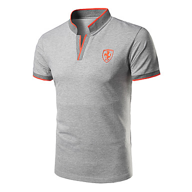 cheap Men's Polos-Men's Solid Colored Slim Polo Active Daily Sports Stand Black / Red / Navy Blue / Gray / Summer / Short Sleeve