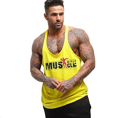 hesapli Erkek modası-Erkek Yuvarlak Yaka İnce - Kısa Paltolar Desen, Harf Actif Spor Sarı / Yaz / Kolsuz