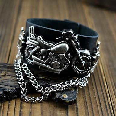 Недорогие Часы на кожаном ремешке-Для пары Часы-браслет Кварцевый Аналоговый Черный / Кожа