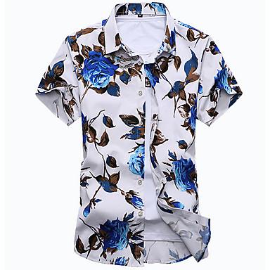 Majica Muškarci - Boho Plaža Cvjetni print Klasični ovratnik Slim, Print Obala / Kratkih rukava / Ljeto