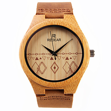 رخيصةأون ساعات النساء-نسائي ساعة المعصم ياباني كوارتز جلد بني خشبي مماثل سيدات سحر
