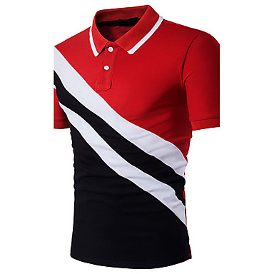 cheap Men's Polos-Men's Color Block Patchwork Slim Polo - Cotton Active Sophisticated Daily Holiday Going out Shirt Collar Black / Red / Summer / Short Sleeve