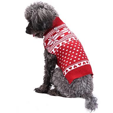 رخيصةأون ملابس وإكسسوارات الكلاب-قط كلب المعاطف البلوزات عيد الميلاد الشتاء ملابس الكلاب أحمر كوستيوم الاكريليك وألياف ندفة ثلجية موضة عيد الميلاد XXS XS S M