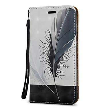 voordelige Galaxy J-serie hoesjes / covers-hoesje Voor Samsung Galaxy J7 (2016) / J7 / J5 Prime Kaarthouder / met standaard / Flip Volledig hoesje Veren Hard PU-nahka