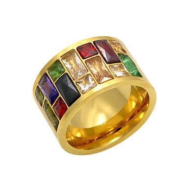 رجالي عصابة الفرقة ذهبي فضي وردي عقيقي حجر الراين الصلب التيتانيوم مستطيل سيدات مخصص هندسي هدايا عيد الميلاد مناسب للحفلات مجوهرات / مطلية بالذهب