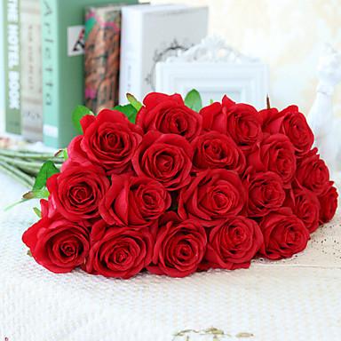 زهور اصطناعية 10 فرع الطراز الأوروبي الورود أزهار الطاولة