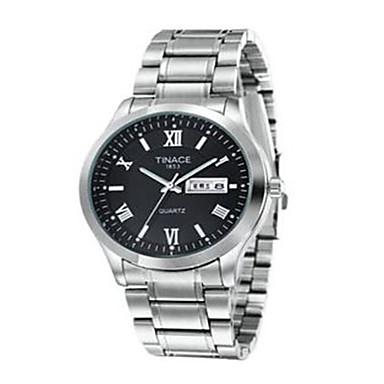 Недорогие Часы на кожаном ремешке-Муж. Модные часы Кварцевый На каждый день / Аналоговый Белый Черный / Кожа