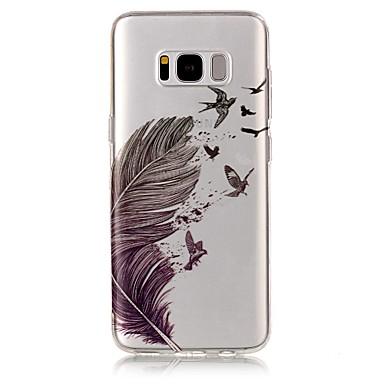 Недорогие Чехлы и кейсы для Galaxy S6 Edge-Кейс для Назначение SSamsung Galaxy S8 Plus / S8 / S7 edge IMD / Прозрачный / С узором Кейс на заднюю панель  Перья Мягкий ТПУ