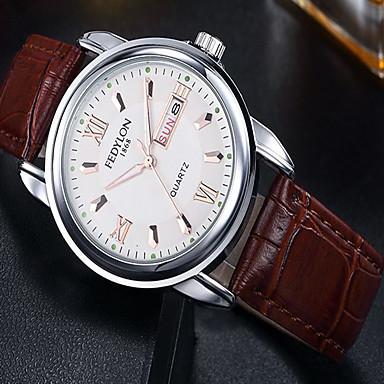 Недорогие Часы на кожаном ремешке-Муж. Модные часы Кварцевый На каждый день / Аналоговый Черный Коричневый / Кожа