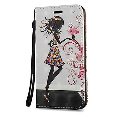 Недорогие Чехлы и кейсы для Galaxy S3-Кейс для Назначение SSamsung Galaxy S8 Plus / S8 / S7 edge Бумажник для карт / со стендом / Флип Чехол Соблазнительная девушка Твердый Кожа PU