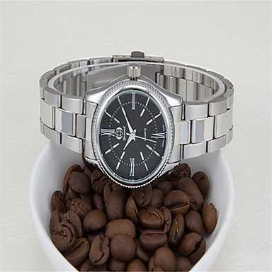 Недорогие Часы на металлическом ремешке-Муж. Модные часы Кварцевый Аналоговый Белый Черный / Нержавеющая сталь