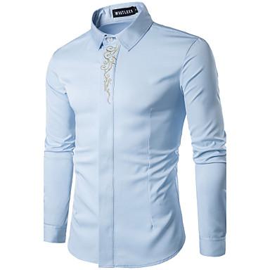 رخيصةأون قمصان رجالي-رجالي أناقة الشارع قطن قميص, هندسي / كم طويل
