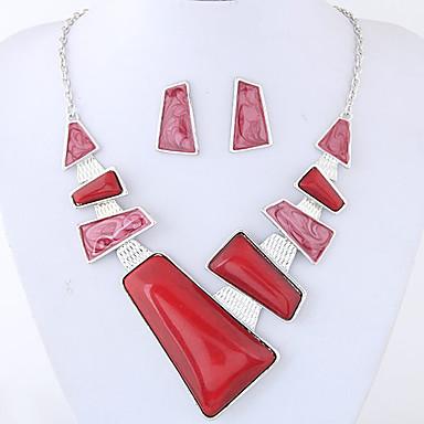 رخيصةأون أطقم المجوهرات-نسائي مجموعة مجوهرات سيدات موضة euramerican في أنيق الأقراط مجوهرات أحمر / أزرق من أجل مناسب للحفلات مناسب للبس اليومي