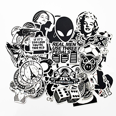 cheap Automotive Exterior Accessories-ZIQIAO 100 PCS Black and White Cool DIY Stickers For Car Skateboard Laptop Luggage Snowboard Fridge Phone Toy Styling Home Decor Stickers