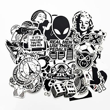 povoljno Automobilski vanjski pribor-ziqiao 100 komada crne i bijele hladno diy naljepnice za auto skateboard laptop prtljaga snowboard frižider telefon igračka styling home dekor naljepnice