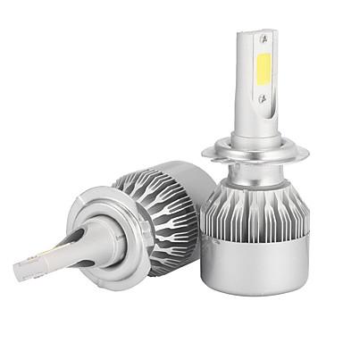 Недорогие Автомобильные фары-2pcs h7 7200lm комплекты для преобразования фар с лампами накаливания bridgelux cob chip