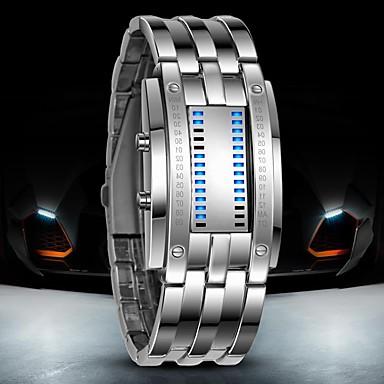 Недорогие Часы на металлическом ремешке-Муж. Наручные часы электронные часы Цифровой Роскошь Защита от влаги Нержавеющая сталь Черный / Серебристый металл Цифровой - Черный Серебряный / LED