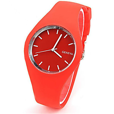 رخيصةأون ساعات النساء-للمرأة ساعات فاشن كوارتز مطاط فرقة عادية أزرق أحمر البرتقال