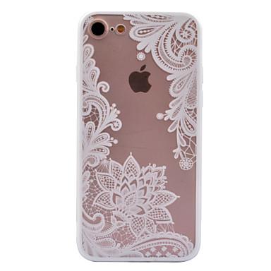 voordelige iPhone 5 hoesjes-hoesje Voor Apple iPhone X / iPhone 8 Plus / iPhone 8 Transparant / Patroon Achterkant Cartoon / Lace Printing / Bloem Hard PC