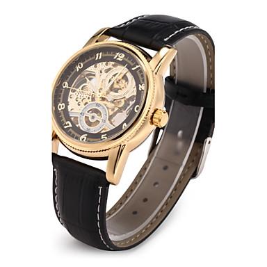 Bărbați Ceas Schelet Ceas de Mână ceas mecanic Japoneză Mecanism automat Piele PU Matlasată Negru Gravură scobită Analog Lux - Negru