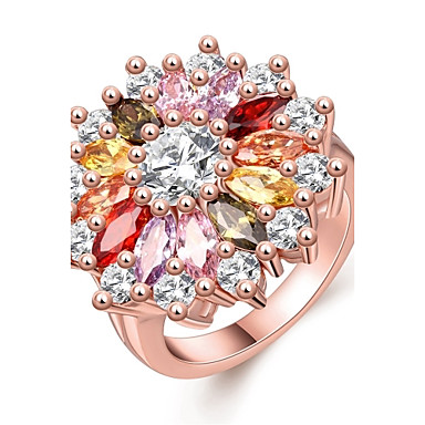 Womens Adorable Rose Gold Zircon Copper Flower Ring