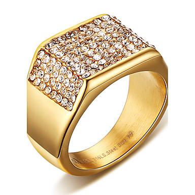 ieftine Inele-Bărbați Inel de declarație Inel Inel sigiliu Cristal Auriu Oțel titan Pătrat Personalizat Punk Rock Cadouri de Crăciun Nuntă Bijuterii