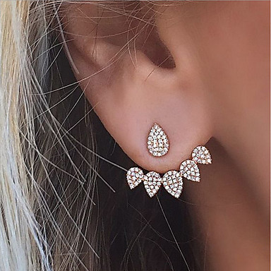 cheap Earrings-Women's Cubic Zirconia tiny diamond Stud Earrings Jacket Earrings Teardrop Ladies Fashion Euramerican Bling Bling everyday Earrings Jewelry Gold / Silver For Wedding Party Daily Masquerade Engagement