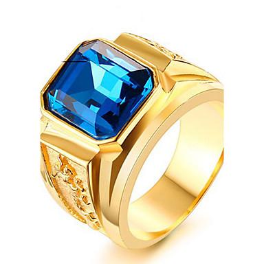 זול טבעות-בגדי ריקוד גברים טבעת הצהרה טבעת טבעת החותם ספיר זהב / שחור זהב / כחול זהב- יין פלדת טיטניום ריבוע מותאם אישית פאנק רוק Christmas Gifts חתונה תכשיטים סוליטר