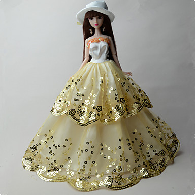 olcso Barbie baba ruházat-Baba ruha Party / Estélyi mert Barbie Flitter Organza Flitter Ruha mert Lány Doll Toy