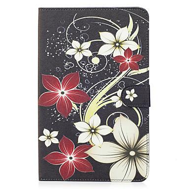 voordelige Samsung Tab-serie hoesjes / covers-hoesje Voor Samsung Galaxy Tab E 9.6 Portemonnee / Kaarthouder / met standaard Volledig hoesje Bloem Hard PU-nahka