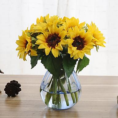 6 فروع عباد الشمس الزهور الاصطناعية المنزل الديكور الزفاف العرض