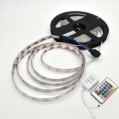 5m Bare De Becuri LED Rigide 300 LED-uri SMD 2835 1 Controler la distanță de 24 de taste RGB Rezistent la apă / Decorativ 12 V 1set / IP65