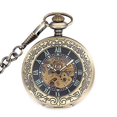 Недорогие Часы на металлическом ремешке-Муж. Часы со скелетом Карманные часы Механические часы Кварцевый Механические, с ручным заводом Steampunk Аналоговый Черный / Нержавеющая сталь