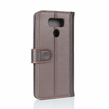رخيصةأون LG أغطية / كفرات-غطاء من أجل LG LG G6 محفظة / حامل البطاقات / قلب غطاء كامل للجسم لون سادة قاسي جلد أصلي