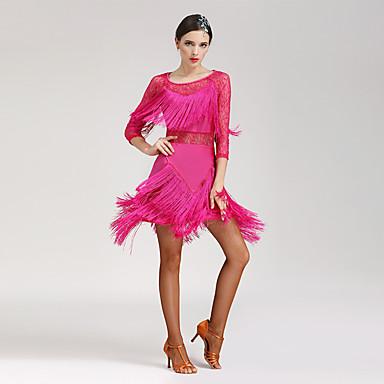 cheap Dancewear & Shoes-Latin Dance Dresses Women's Performance Spandex 3/4 Length Sleeve Natural Dress