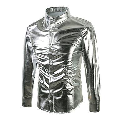 رخيصةأون قمصان رجالي-رجالي مناسب للحفلات / نادي ترف / بانغك & قوطي أساسي قطن قميص, لون سادة رقبة طوقية مرتفعة نحيل / كم طويل / الربيع