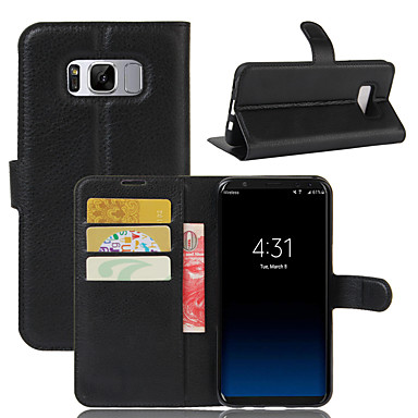 billige Etuier / covers til Galaxy S-modellerne-Etui Til Samsung Galaxy S8 Plus / S8 / S7 edge Pung / Kortholder / Stødsikker Fuldt etui Ensfarvet Hårdt PU Læder