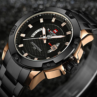 cheap Men's Watches-NAVIFORCE Men's Sport Watch Military Watch Wrist Watch Japanese Quartz Stainless Steel Black / Silver 30 m Water Resistant / Waterproof Calendar / date / day Creative Analog Charm Luxury Vintage