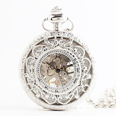 رخيصةأون ساعات النساء-نسائي ساعة جيب ياباني كوارتز الأبيض نقش جوفاء مماثل عتيق Steampunk - أبيض