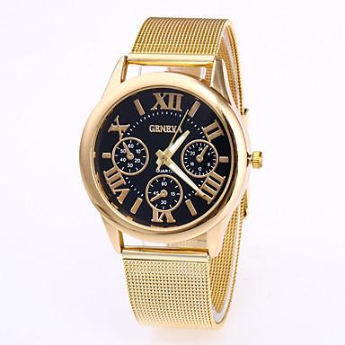 رخيصةأون ساعات الرجال-Geneva رجالي ساعة المعصم كوارتز ستانلس ستيل ذهبي روزي ساعة كاجوال كوول مماثل موضة - أبيض أسود كوفي