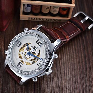 Недорогие Часы на кожаном ремешке-Муж. Модные часы Механические часы С автоподзаводом Аналоговый Белый Черный / Кожа
