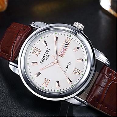 Недорогие Часы на кожаном ремешке-Муж. Модные часы Кварцевый Формальный Классический На каждый день / Аналоговый Белый Черный Синий / Кожа