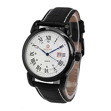 Недорогие Часы на кожаном ремешке-Муж. Модные часы Механические часы Кварцевый С автоподзаводом Аналоговый Белый Черный / Кожа