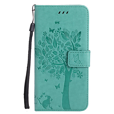 abordables Fundas para iPhone 5c-Funda Para Apple iPhone X / iPhone 8 Plus / iPhone 8 Cartera / Soporte de Coche / con Soporte Funda de Cuerpo Entero Gato / Árbol Dura Cuero de PU