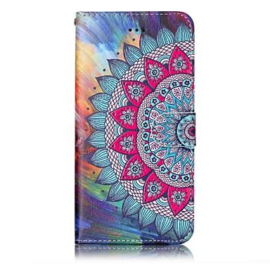 Недорогие Кейсы для iPhone 6-Кейс для Назначение Apple iPhone 7 Plus / iPhone 7 / iPhone 6s Plus Кошелек / Бумажник для карт / Рельефный Чехол Мандала / Цветы Твердый Кожа PU