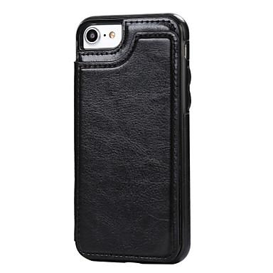 voordelige iPhone 6 hoesjes-hoesje Voor Apple iPhone 7 Plus / iPhone 7 / iPhone 6s Plus Kaarthouder / met standaard Achterkant Effen Hard PU-nahka