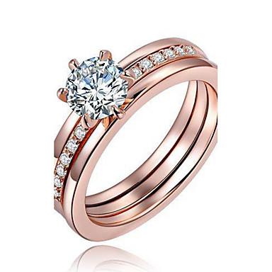 799 Damskie Kryształ Miedź Posrebrzany Pozłacane Pierścionek Zaręczynowy Pierscionek Pierścień Oświadczenia Circle Shape