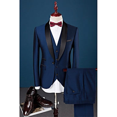 cheap Tuxedos & Suits-Royal Blue Solid Colored Slim Fit Cotton / Polyester / Spandex Suit - Shawl Collar Single Breasted One-button / Suits