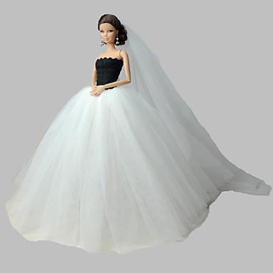 olcso Barbie baba ruházat-Baba ruha Esküvő mert Barbie Organza Ruha mert Lány Doll Toy